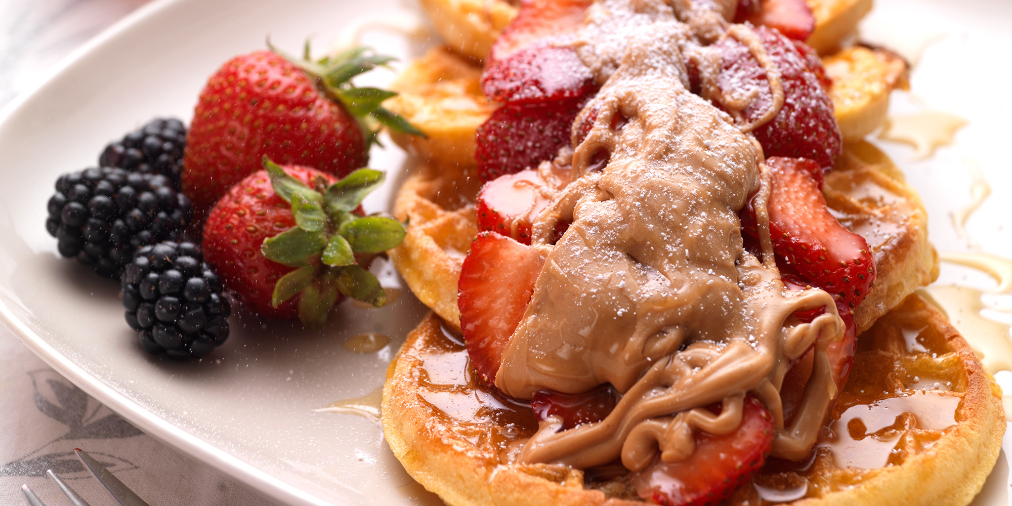 Waffle with Peanut Butter and Strawberr